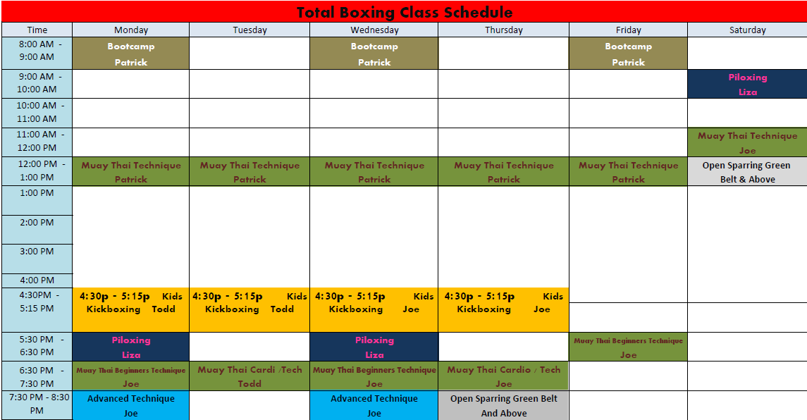 Schedule Roswell Kickboxing School - March 2013