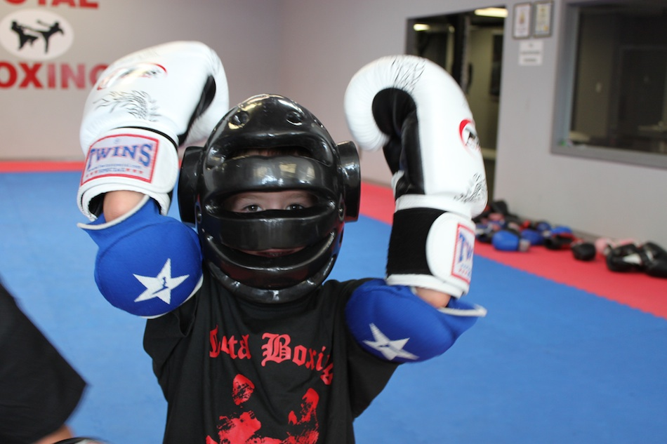 Atlanta after school program - kid with full kickboxing gear on